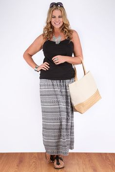 Black And White Aztec Print Maxi Skirt With Lace-Up Detail: Amazon.co.uk: Clothing