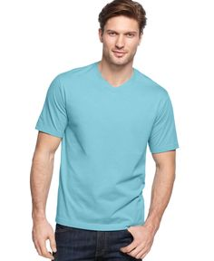 John Ashford Big and Tall Solid V-Neck T-Shirt