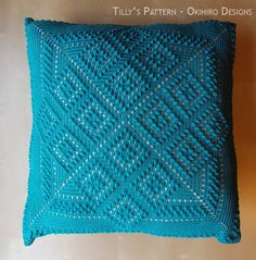 "Tilly's Patten 20"" Crochet Square Pillowcase - MADE TO ORDER - Double Sided design. $55.00, via Etsy."