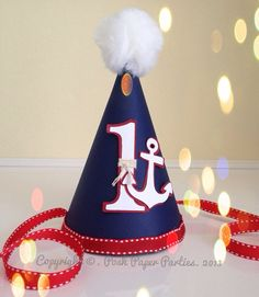 Nautical Party Hat Baby's First Birthday by PoshPaperPartiesCo, $12.00