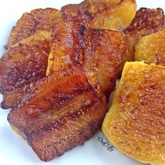 Sweet Plantains (very ripe) slowly cooked in coconut oil...not sure how healthy that is!!!