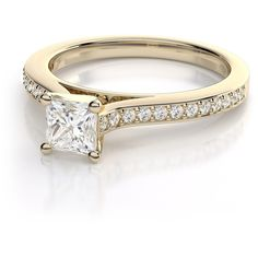.74ctw Cathedral Princess Cut Diamond Engagement Ring in 14k Yellow... ($2,199) ❤ liked on Polyvore featuring jewelry, rings, gold wedding rings, yellow gold diamond rings, diamond wedding rings, princess cut diamond rings and round engagement rings