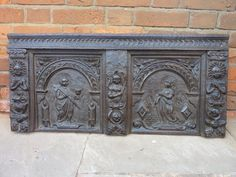 ate 16th Century Flemish Antique Carved Oak Panel / Formerly a Coffer Front