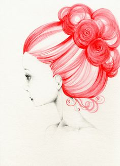 Still loving the red hair...    Grace Original Artwork  Fine Art by ABitofWhimsyArt on Etsy, $500.00