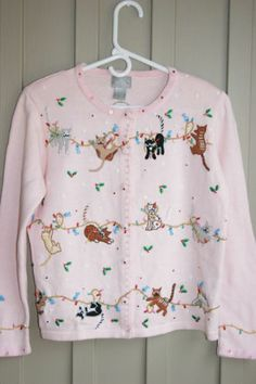 Berek Ugly Christmas Sweater with Cat's and Lights Size Small | eBay