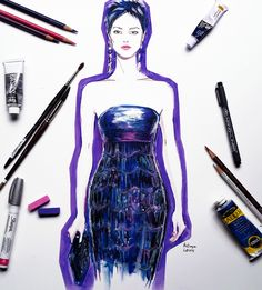 Artist Hodaya Louis illustrates the best looks from the Fall 2015 couture shows in Paris. See more on wmag.com.