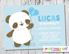 Personalized Panda Boy Invitation by Print4Yourself on Etsy