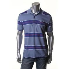 HUGO-BOSS-NEW-Blue-Pique-Modern-Fit-Striped-Polo-Shirt-Top-L-BHFO