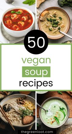 These tasty vegan soup recipes are easy and healthy. Full of vegetables and other plant-based yumminess. Some with instant pot instructions!   The Green Loot