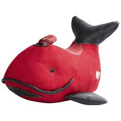 """""""Therapeutic Toy"""" Whale in Red Jute with Leather Detailing, Renate Muller, 2016 