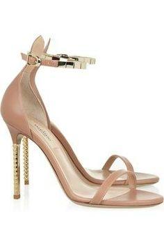 #Valentino Embellished Leather Sandals