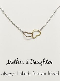 Stella Mother Daughter Necklace, Two Hearts Connected