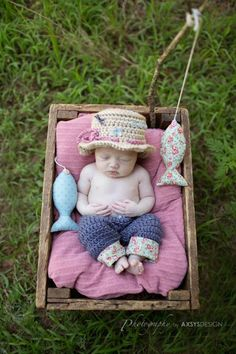 Newborn Fishing Hat & Pants  Photo Prop  by whimsylaneboutique, $50.00