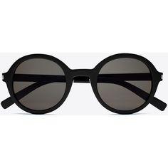 Saint Laurent Classic 161 Slim Sunglasses ($435) ❤ liked on Polyvore featuring accessories, eyewear, sunglasses, glasses, round glasses, rounded sunglasses, round lens glasses, yves saint laurent and round sunglasses