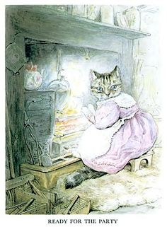 """Ribby ready for the party in 'The Tale of the Pie and the Patty-Pan', 1905 -- by Beatrix Potter. """"She put on a lilac silk gown, for the party, and an embroidered muslin apron and tippet. Beatrix Potter Illustrations, Beatrice Potter, Peter Rabbit And Friends, Benjamin Bunny, Children's Book Illustration, Cat Art, Fairy Tales, Creatures, Drawings"""