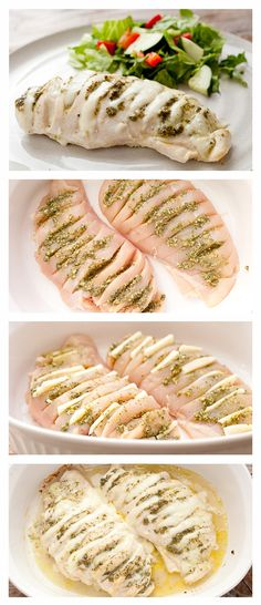 Pesto Hasselback Chicken. This method, hasselback chicken, is way up there in my methods of jazzing up chicken. By making slits down the chicken breast and stuffing them with pesto and mozzarella, you turn a normal dish into something pretty darn special.