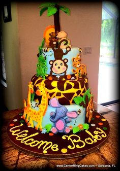 Jungle Themed Baby Shower Cake - Would also be cute for birthday. #themedcakes