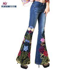 a25a2cf03094 87.83  M spring 2014 luxury bohemia beading embroidered jeans female  trousers boot cut en Pantalones vaqueros de La ropa de las mujeres en  AliExpress.com ...