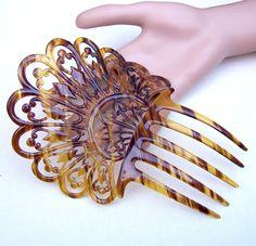 Art Deco faux tortoiseshell celluloid hair comb by ElrondsEmporium