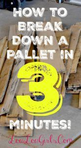 """This is a quick and effective way to break down a pallet in less than 3 minutes. As with any project, use safety precautions any time you're using power tools, and stay safe out there!   We have some awesome pallet projects to share this week, and I wanted to show you the easiest … Continue reading """"How to Break Down Pallets Quickly and Easily!"""""""