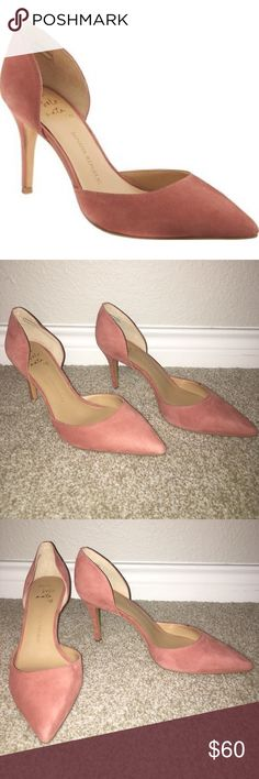 New Banana Republic Pink D'Orsay Pumps Size 9.5 Pink suede pumps.  Shoe name is Alicia. Heel is 2.75 inches.  New with box (box has small indent on cover). Banana Republic Shoes Heels