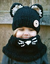 Kitty set (hat and cowl -- $10 pattern)