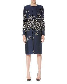 Carolina Herrera Floral Silk-blend Topper, Navy/black/white, Dark Navy/black/w Carolina Herrera Dresses, Womens Cocktail Dresses, Silk Wool, Jacket Dress, Sheath Dress, Dresses For Work, Black White, Dark Navy, Clothes For Women