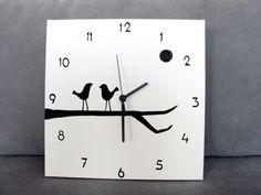 Items similar to Wall clock- black and white birds clock, birds on a branch - Square Hand painted on canvas, unique kitchen clock on Etsy Wall Clock Black And White, White Wall Clocks, Black And White Birds, Handmade Wall Clocks, Unique Wall Clocks, Wood Clocks, Clock Painting, Clock Art, Pottery Painting