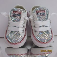 These real Princess shoes can be customised to individual requirements to create a genuinely unique pair of shoes. Also great for creating fabulous bridesmaids and Bridal combinations.    The absolutely stunning full tongue *Blinged* Converse comes in a choice of size and colour. If your choice is not listed, please contact me as I can get all the current  Converse shoes, but just can't list them all!    I use the highest quality AB rhinestone crystals which have amazing sparkle in an array…