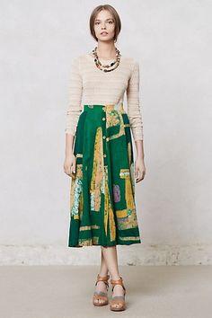 green printed midi skirt + neutral top
