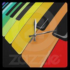 #Keyboard #Music #Party #Colors #Wall #Clock © #Bluedarkat - on #Zazzle!