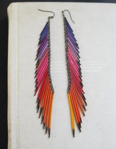rainbow quill earrings