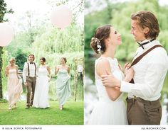 #Brautpaar im #Vintage Stil Hof zur Linde  #bride #groom #bridesmaids #dress #balloons #bridal #party #suspenders