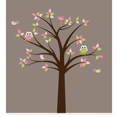 Nursery Wall Art Girl's Owl and Birds Tree Wall Decal Set at Overstock $69.99