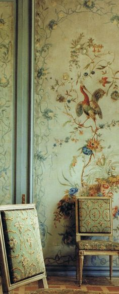 Louis XV canvas Chinoiserie panels from Monluc, Paris Louis XVI Chairs. From the home of Janet de Botton, Provence; chairs are Neoclassical, not Rococo Louis Xvi, Escalier Design, Painted Leaves, Of Wallpaper, Chinoiserie Wallpaper, Zuber Wallpaper, Beautiful Wallpaper, Flower Wallpaper, French Decor
