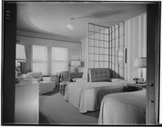 ICONIC HOTELS | THE BEVERLY HILLS HOTEL:  Bedroom, ca. 1940's.  Courtesy UC CA Digital Library.