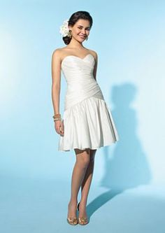 Alfred Angelo Little White Dress Short Destination Wedding Dress 2153