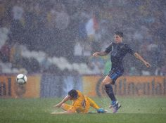 Rain, rain go away. Rain has been seen at more than a few matches at Euro 2012, but the downpour today in the France vs. Ukraine actually caused the match to be suspended in the 5th minute. What is this England? #Euro2012 #rain