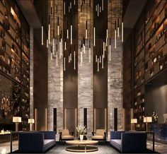 Working on a hotel lobby furniture interior design project? Find out the best furniture inspirations Flur Design, Home Design, Luxury Interior Design, Design Ideas, Design Design, Hotel Lobby Design, Modern Hotel Lobby, Led Profil, Blitz Design