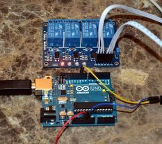 An Arduino Uno driving 1 relay on a 4 relay board. The board uses optoisolators to protect the Arduino.
