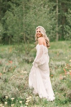 Off the Shoulder Lace Sleeve Wedding Dress for an Aspen Adventure Elopement