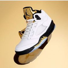 """Go for gold in the Air Jordan 5 Retro """"Olympic"""". Full family sizing in stock…"""