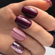 Winter nails burgundy pink gel glitter nail designs with - arttonail - Health smoothies to lose weight detox diet - glitter nails summer Glitter Gel Nails, Nail Manicure, Shellac Pedicure, Red Nails With Glitter, Matte Gel Nails, Fall Pedicure, Sparkly Nails, Shellac Nails, Art Nails