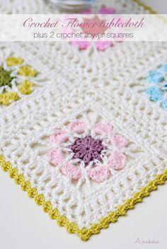 Crochet Granny Square Patterns Crochet Flower Squares pattern, by Anabelia Craft Design Crochet Flower Squares, Crochet Square Blanket, Granny Square Häkelanleitung, Crochet Puff Flower, Crochet Motifs, Granny Square Crochet Pattern, Crochet Blocks, Crochet Flower Patterns, Crochet Afghans