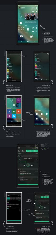 An overview about Windows 10 Mobile UI/UX design, considering details overlooked… Mobile Ui Design, Ui Ux Design, Interface Design, User Interface, Graphic Design, Windows Phone, Windows 10, Best Mobile Websites, Application Design