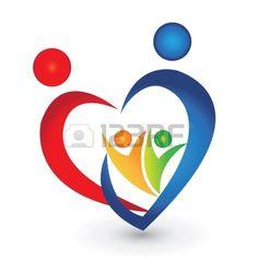 Family union in a heart shape logo  Stock Vector
