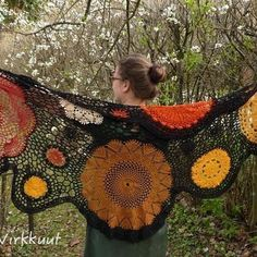 Just finished, I 💜 it, and it already sold 😊 #crochetshawl #MianVirkkuut #crochet💜 #crochetdoily #oldlace #freeformcrochet