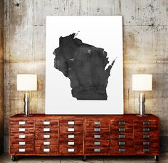 Wisconsin Watercolor Map USA Art Print Wisconsin by TypoWorld