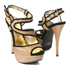Qupid Women's Dazzling14 Stilettos High Heel Sandal Ankle Strap Pumps Glitter, Bronze Synthetic, 6 M US
