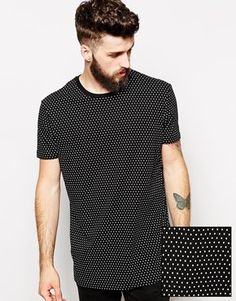 ASOS Longline T-Shirt With All Over Polka Dot Print And Skater Fit